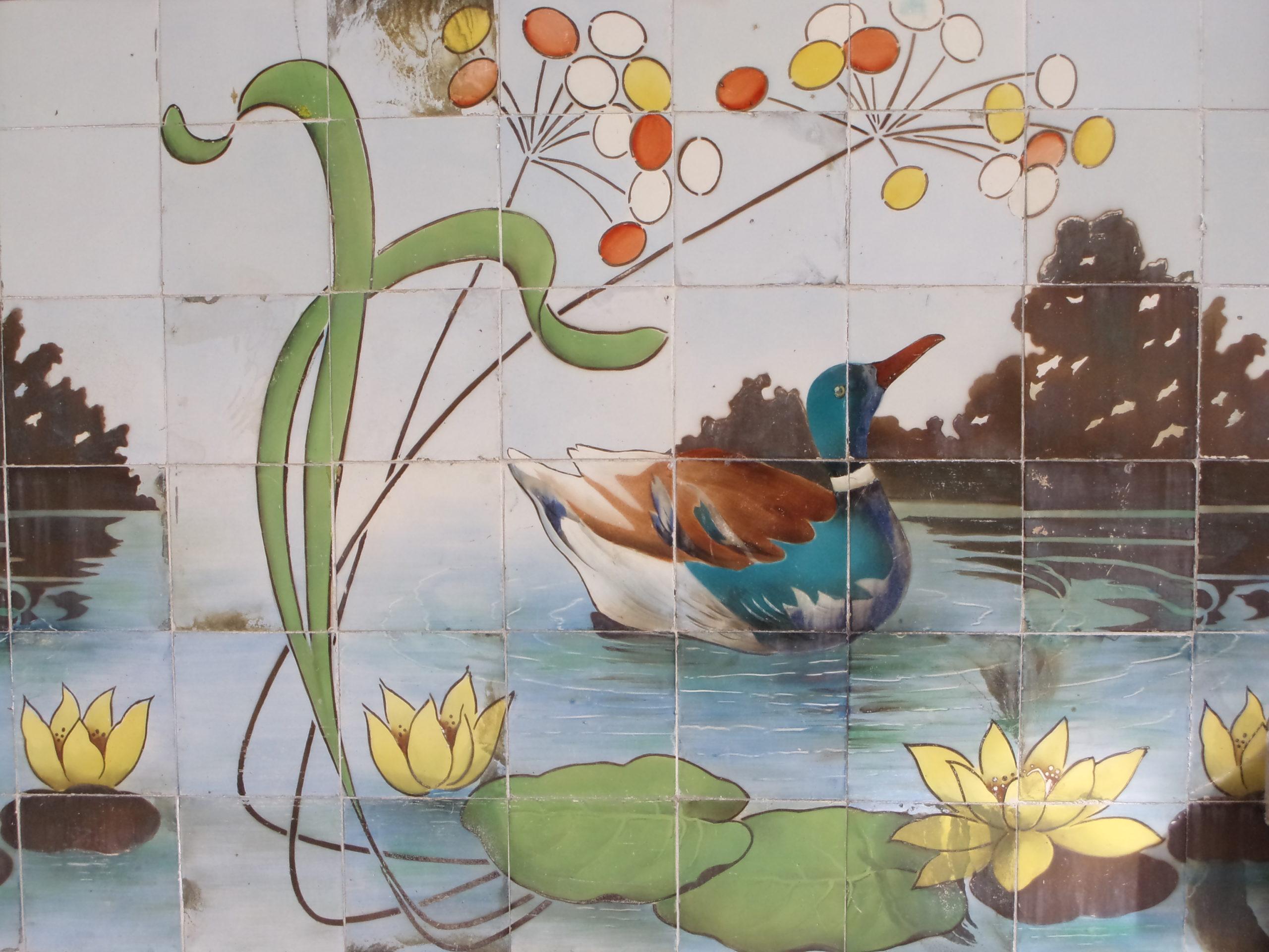 Tile panel in the Art Nouveau Museum, Sacavém Factory, 1907-1909, @CMAveiro